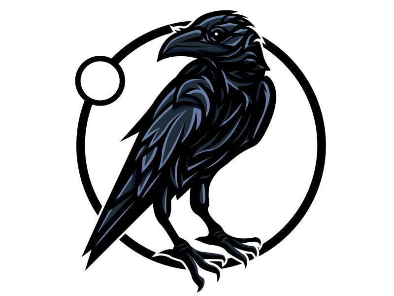 Raven awesome cool esports logo illustration vectorart vector art crow raven