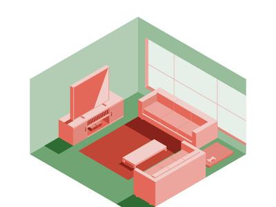 Isometric Living Room illustration vector illustration isometric livingroom vectorart digital illustration isometric illustration