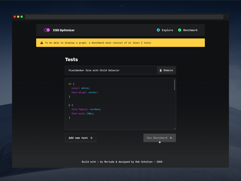 CSS Optimizer — Error State code editor syntax tool dashboard input floating navigation one page website outline button input field error message night theme dark dark theme