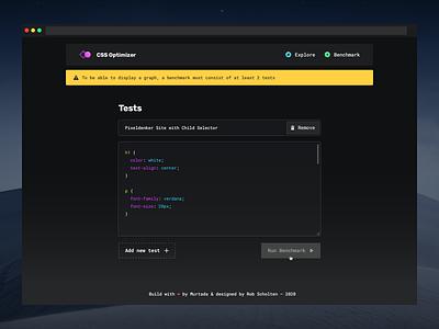 CSS Optimizer — Error State code editor syntax tool dashboard input floating navigation one page website outline button input field error message night theme dark dark theme