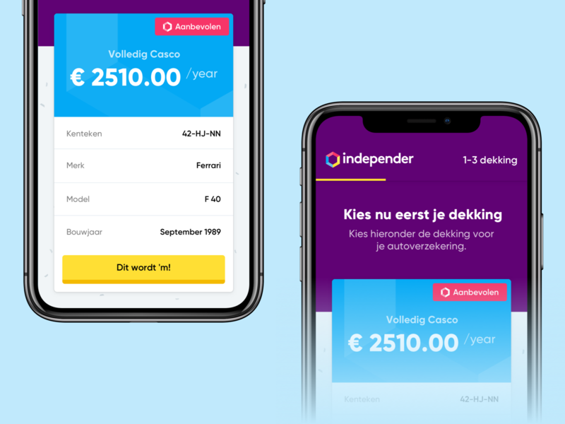 Independer — App Concept Exploration settings mobile application app design price pricing wizard checkout payment insurance