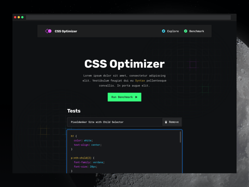 CSS Optimizer — Homepage development dark one page website webapp graph dashboard themes syntax code editor dark theme night theme