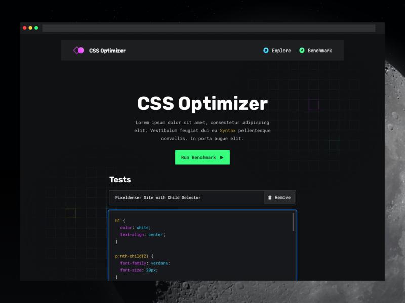 CSS Optimizer — Homepage development dark one page website webapp graph dashboard themes syntax code editor dark theme night theme