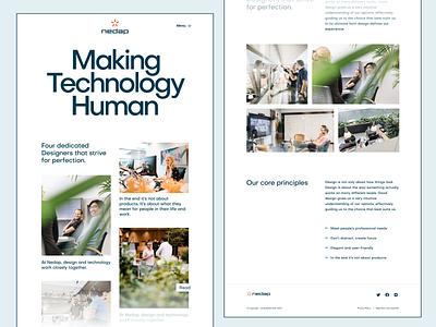Nedap Visual Exploration №1 layout exploration image carousel large header white desktop studio homepage landing page design team web design