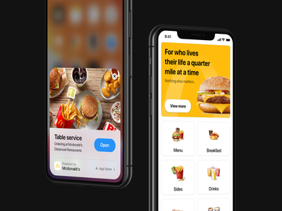 Distanced Restaurant App Clip Experiment ios 14 mobile app design food and drink order cart delivery app food order table service mcdonalds app clip food restaurant app