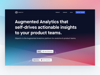 Objectiv Homepage Animation contextual awareness intelligent decision workflow analytics actionable insights landing page header hero homepage animation motion