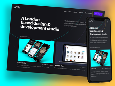 London-based Product Development Studio Homepage marketing showcase gradient cards development studio work landing page homepage portfolio