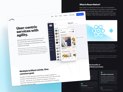 London-based Product Development Studio Services studio agency corporate creative branding marketing website components react native service overview page
