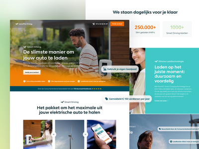 Leaseplan Energy Marketing Page homepage web design hero image smart charging technology electric car green energy gradient landing page marketingpage colourful website header