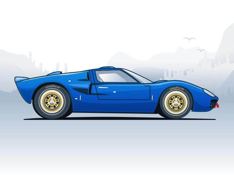 Nº1 Illustration — Ford GT40 sketch clean ux ui race car sports car car illustration car illustration
