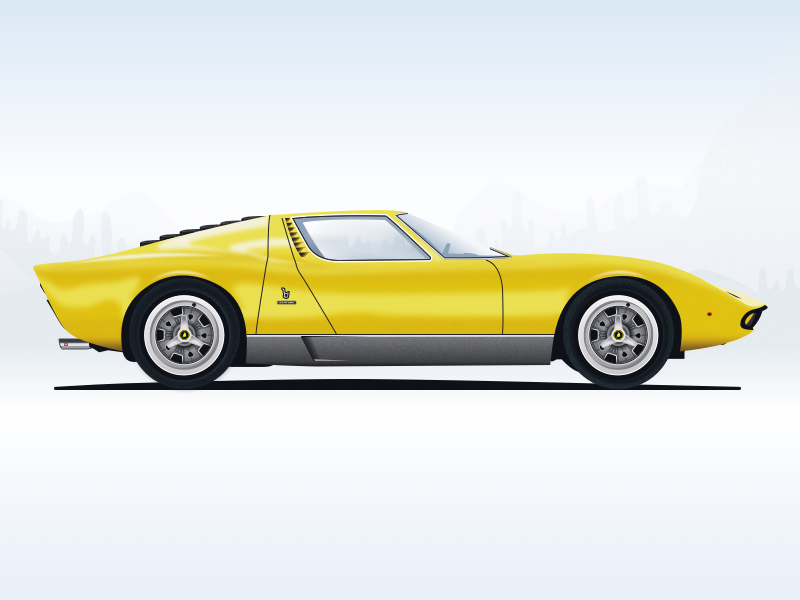 Nº2 Illustration Lamborghini Miura 1969 By Rob Scholten Dribbble
