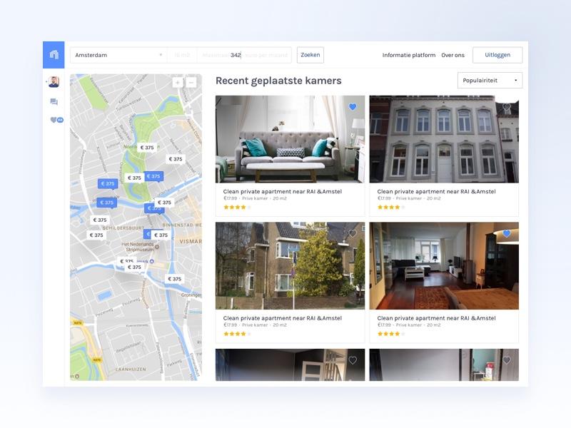 deHuyskamer — Webapp website webpage sidebar side panel ux ui webapp students dashboard clean