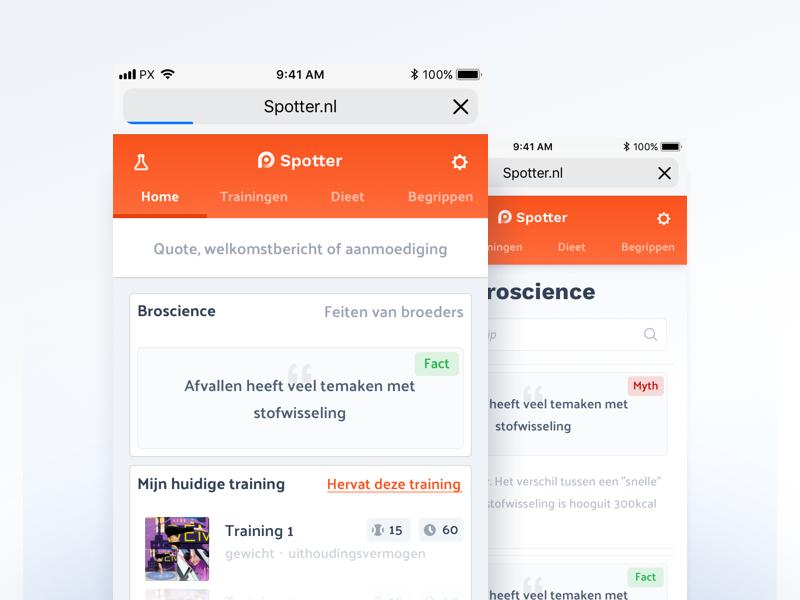 Spotter — The Gym Guide webapp orange list menu bar dashboard ui fitness app app fitness gym