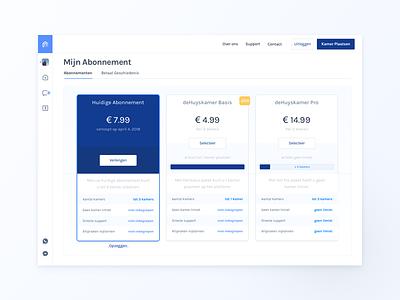deHuyskamer —  Subscription Page marketing plans blue app sidemenu menu webapp dashboard subscription price