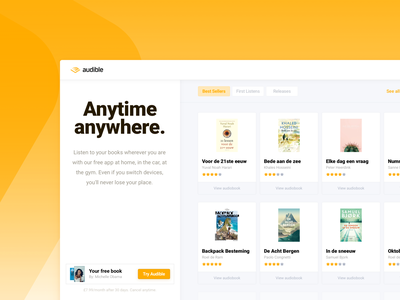 Landingspage concept — Audible button shop store music orange onepage landingspage book amazon audible