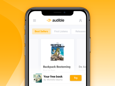 Mobile landingspage concept — Audible audible shadow website re-design concept message modal iphone x iphone ios