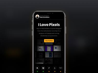 Personal Website — Portfolio orange gradient designer freelance ios iphone night theme dark theme mobile portfolio