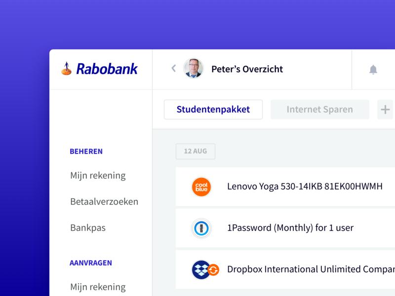 Rabobank  — Visual Branding Concept ecommerce website webapp money creditcard dashboard statistics finance payment bank