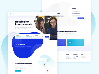 deHuyskamer — Marketingpage real estate landingspage fluid design element search field landingspage marketing website rounded design design system playfull design blob