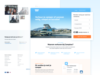 Camptoo — Verhuurders Landingspage footer one pager landing page homepage colourful user interface registration form travel landingspage camper rental platform car rental service website