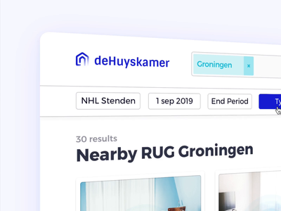 deHuyskamer — Search Motion web application landings page design system real estate search booking motion design motion animation real estate landingspage