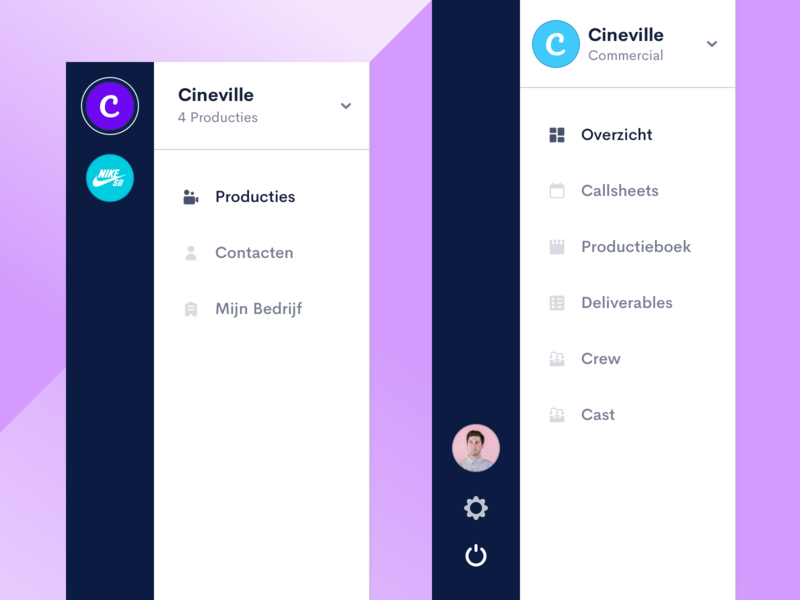 ProductionKit — Navigation menu icon sidebar design purple user interface menu settings profile side bar navigation dashboard