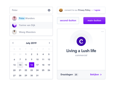 ProductionKit — Stylekit Components purple ui elements design system style kit library cookie message button states ui card dropdown calendar component