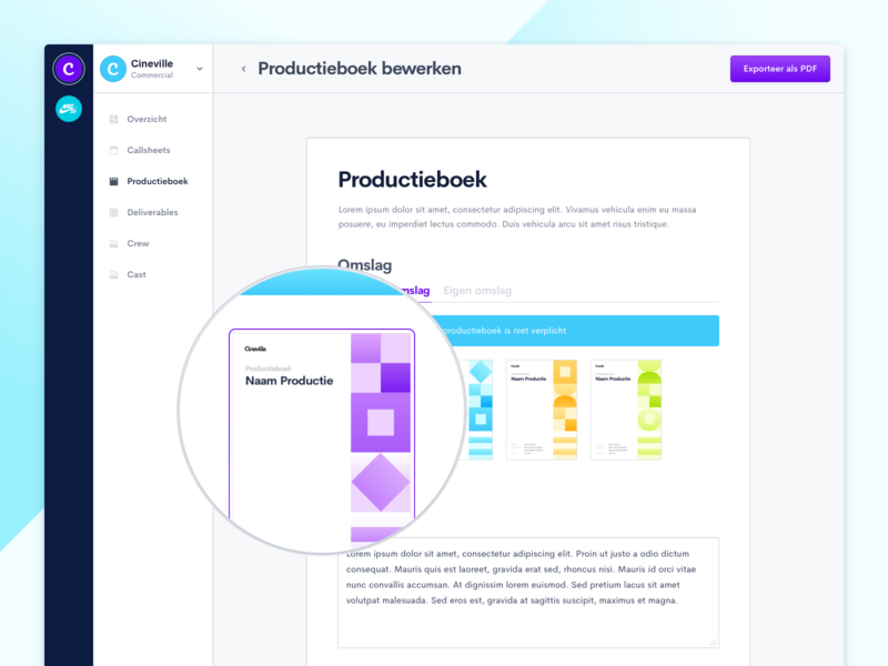 ProductionKit — Productionbook Template upload survey book cover production book document export ui zoom element template colourful form dashboard