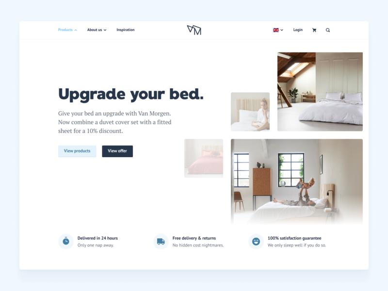 Van Morgen — Homepage website language selector image carousel homepage minimal hero image bedroom webshop buy marketing site one page landing page