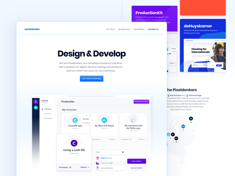 Pixeldenker — Updated Portfolio Website floating navigation casestudy minimal website design subtile shadow gradient product design one page portfolio website portfolio agency branding profile avatar