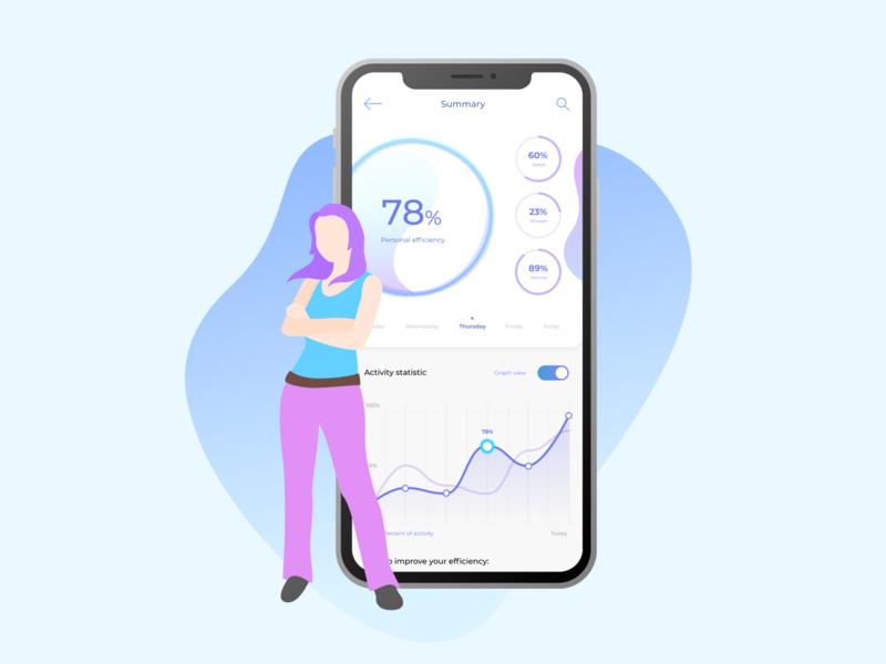 SportApp mobile UI v2 web design web app web violet ux ui sport illustration health gym girl cyan app ui app interface app