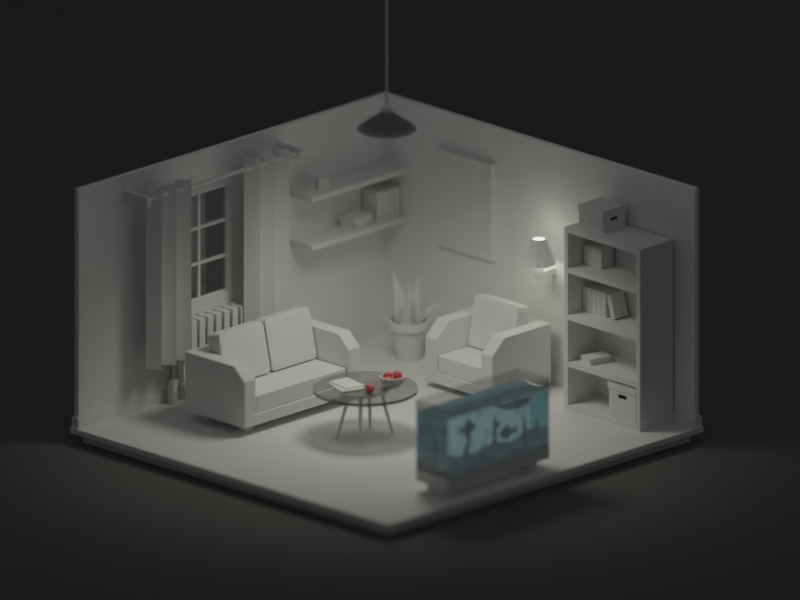 LowPoly 3d interrior WIP 3d illustration illustration apartment house tilt shift cute small modeling render interrior 3d low poly