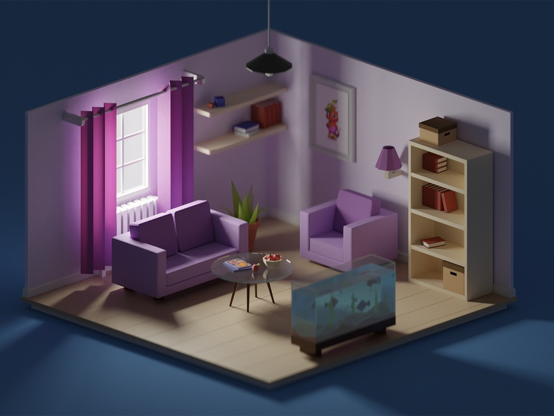 Low-poly interior daylight illustration 3d render 3d window daylight bookcase chair coach sofa interior low poly lowpoly