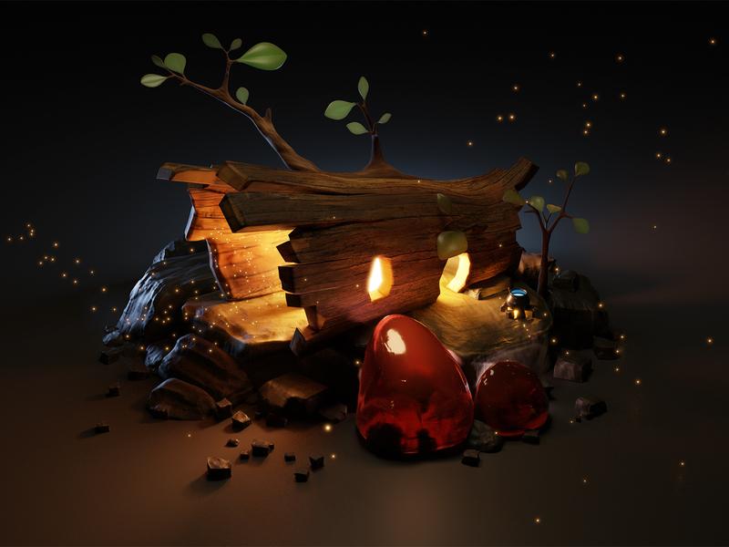 Fantasy house 3d - study work magic firefly blender light fire fairy wood house fantasy illustration render 3d
