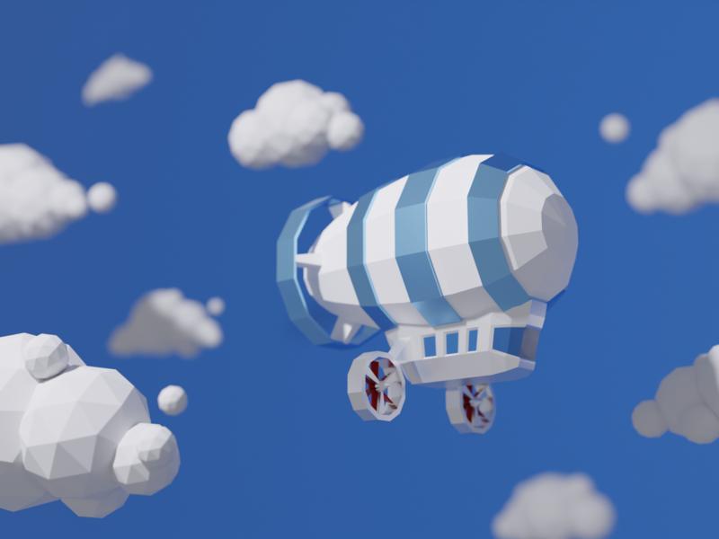 Zeppelin WIP render 3d polygon low polygon cute tiny clouds sky zeppelin illustration low poly