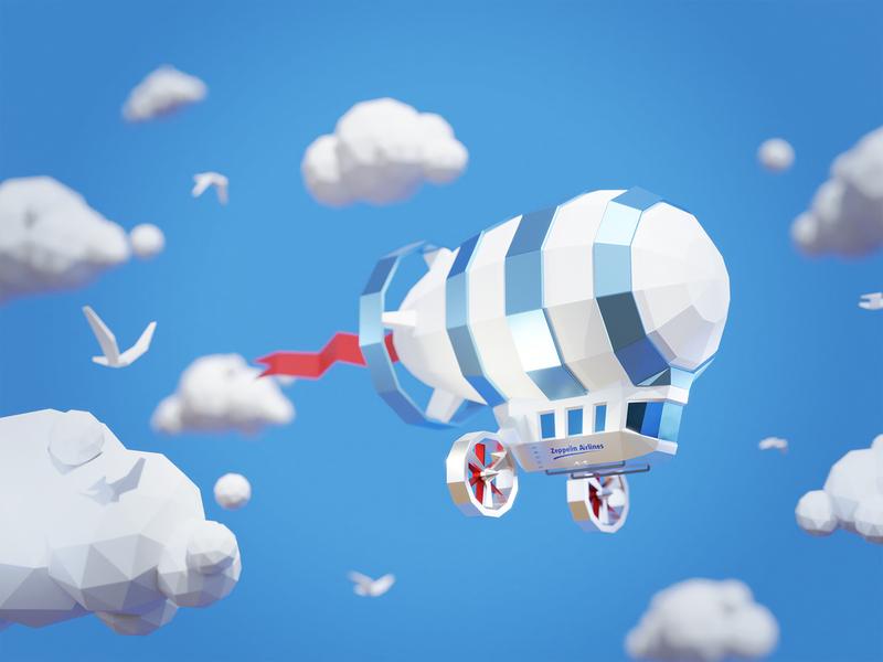 Low Poly Zeppelin bird flag polygon modeling blender3d blender lowpolyart lowpoly 3d clouds clouds sky zeppelin 3d art low poly 3d illustration