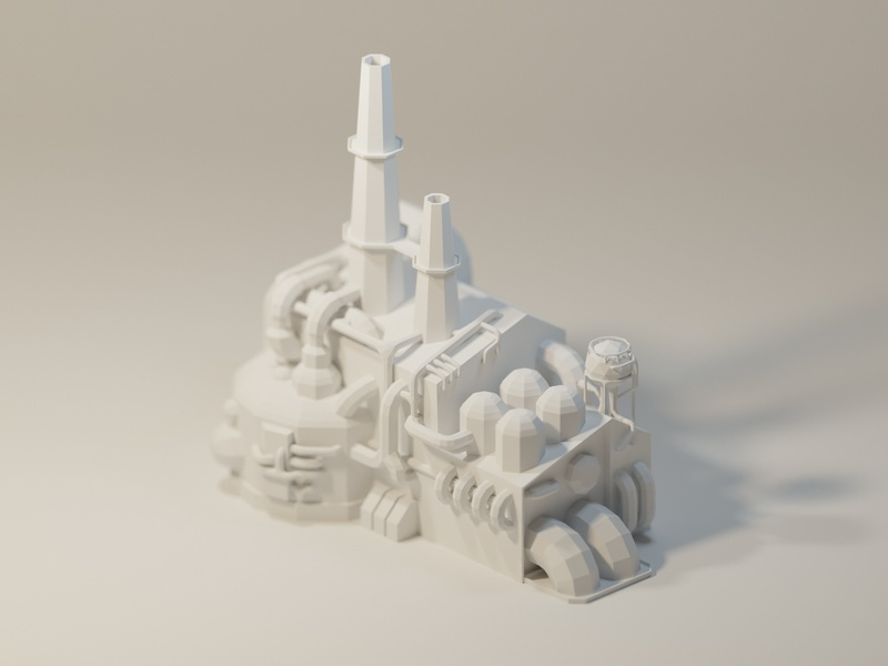 Low Poly Factory WIP white modeling blender industrial ferry smelter factory lowpolyart model lowpoly low poly 3d illustration