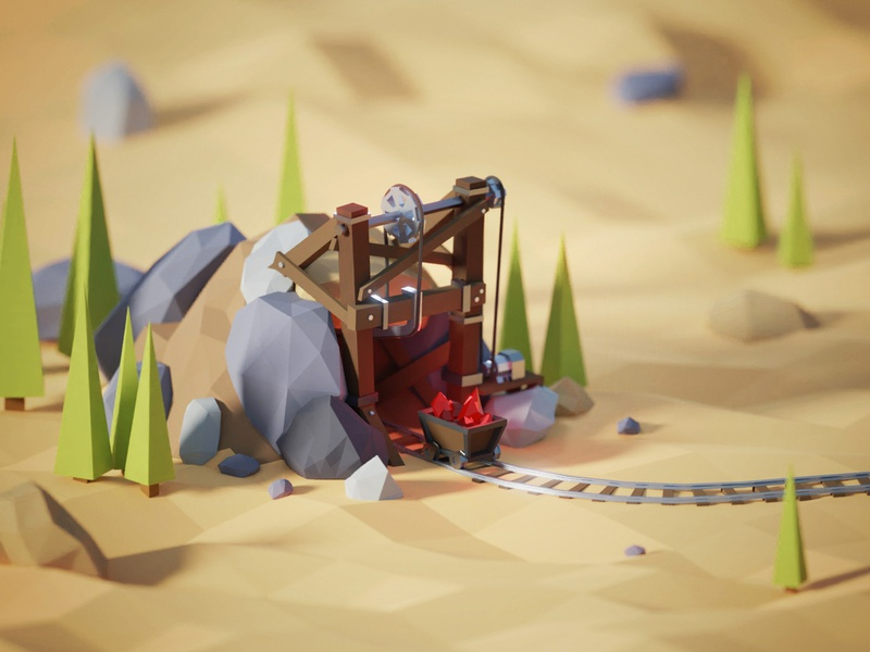 Low poly crystal mine transportation sand rails old style old mine mining mineral mine low poly illustration crystals crystal casual game casual cart 3d