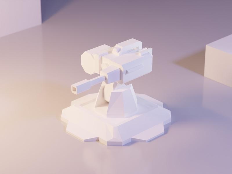 Turret model tower defense assets game asset war turret tower asset game low poly 3d illustration