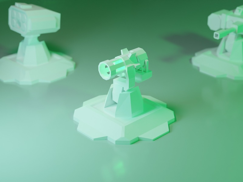 Lowpoly laser turret model plastic white figure laser turret tower tower defense game asset game low poly 3d illustration