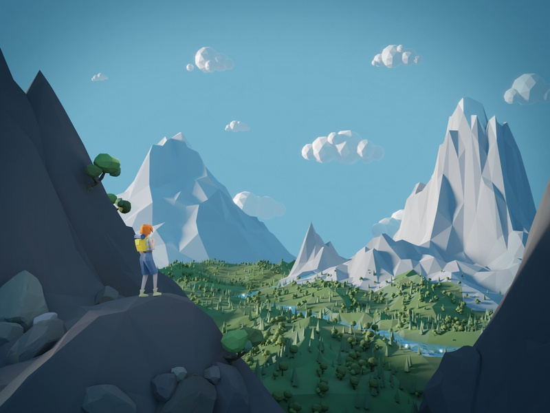 Journey: lowpoly landscape art tourist tourism river polygons mountains morning model low poly lowpoly landscape illustration hills hiking hiker girl forest exploring environment discovery 3d