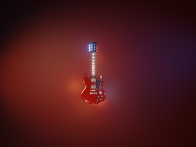 Gibson Angus Young SG: lowpoly fanart rocknroll rock guitar model lowpoly low poly 3d illustration