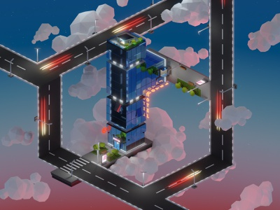 Lowpoly skyscraper unreal isometric clouds road skyscraper lowpoly low poly 3d illustration