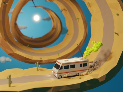 Bad trip hypno spiral breaking bad animation fanart lowpoly low poly 3d illustration
