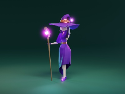 Lowpoly wizard girl character design mage witch fantasy magic girl character game asset model lowpoly low poly 3d illustration