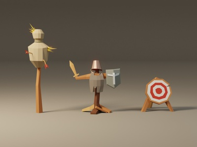 Lowpoly game assets: training mannequins aim training fantasy props game game asset model lowpoly low poly 3d illustration