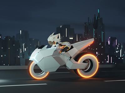 Highway star: lowpoly bikergirl motorcycle bike moto cyberpunk cyber scifi game game asset model lowpoly low poly 3d illustration