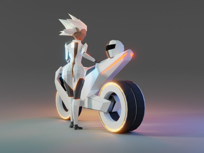 Lowpoly racer racer motorbike girl bike sci-fi scifi character game asset model lowpoly low poly 3d illustration