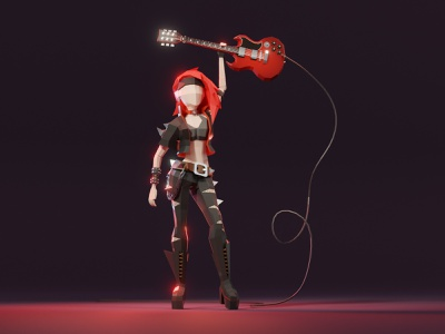 Roxy: lowpoly rock'n'roll girl rocker dare guitar rock music girl character game asset model lowpoly low poly 3d illustration