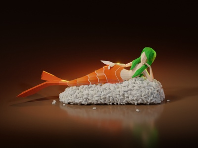 Lowpoly mermaid on sushi sushi foodporn food mermaid girl character game asset model lowpoly low poly 3d illustration
